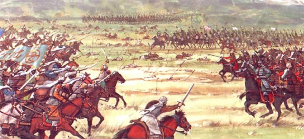 Bức tranh tái hiện bối cảnh một trận đánh của quân đội Mông Cổ.