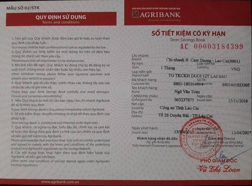 Thẻ tiết kiệm có kỳ hạn Agribank
